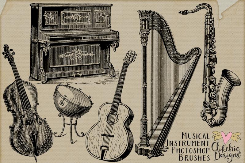 Vintage Musical Instrument Photoshop Brushes