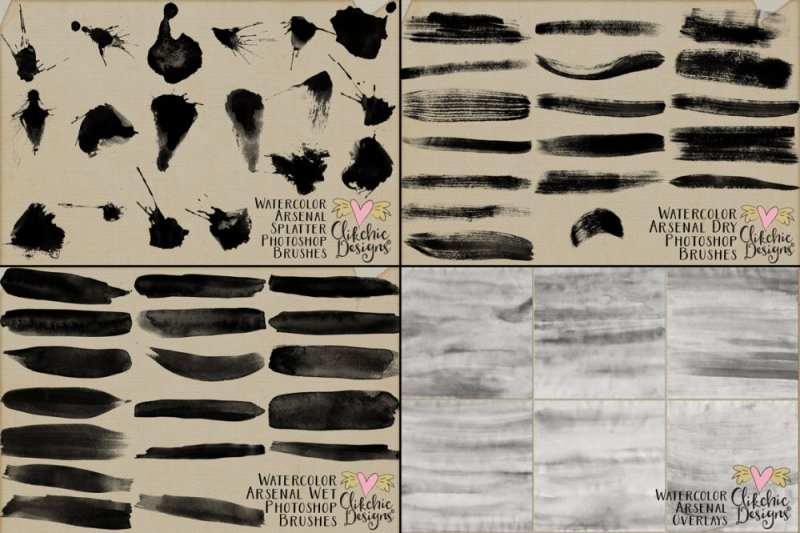 Watercolor Arsenal Photoshop Brushes and Overlays Collection