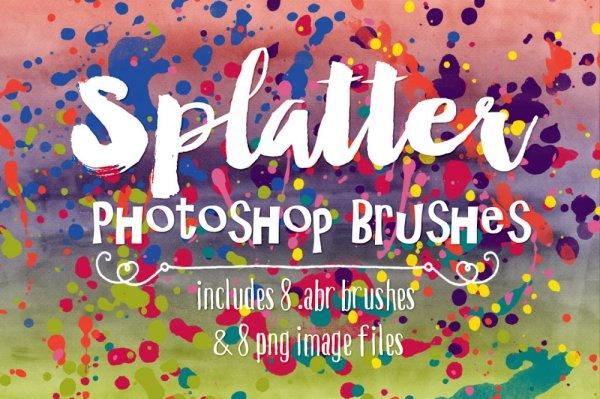 Watercolor Paint Splatter Photoshop Brushes