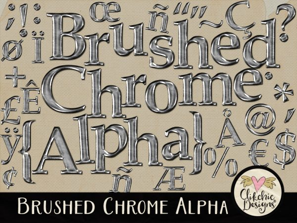 Brushed Chrome Digital Scrapbook Alpha