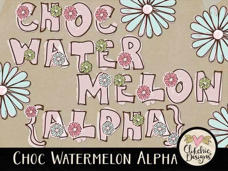 Choc Watermelon Whimsical Digital Scrapbook Alpha