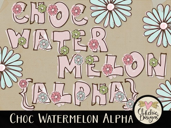Choc Watermelon Whimsical Digital Scrapbook Alpha