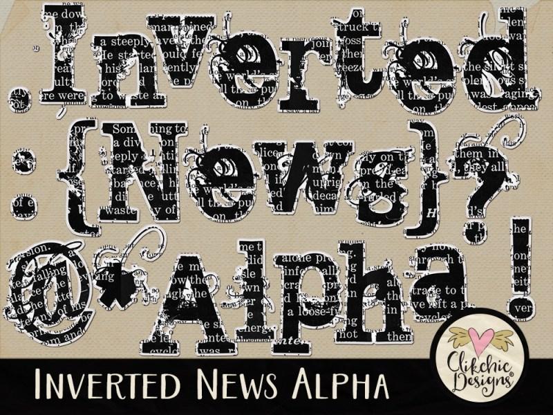 Inverted News Digital Scrapbook Alpha