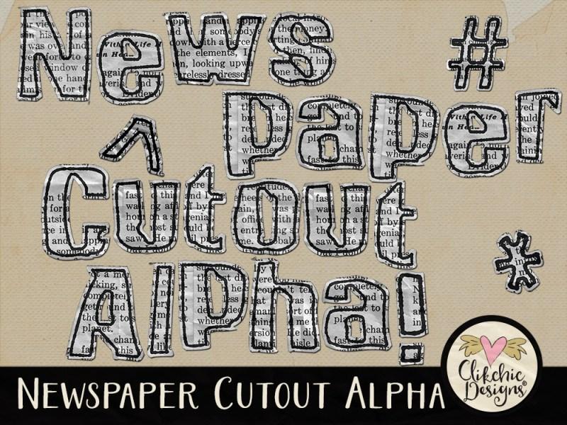 Newspaper Cutout Digital Scrapbook Alpha