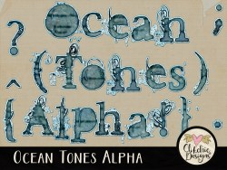 Ocean Tones Digital Scrapbook Alpha