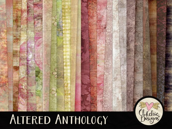 Altered Anthology Digital Scrapbook Paper Pack