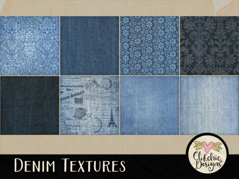 Denim Texture Digital Scrapbook Paper Pack