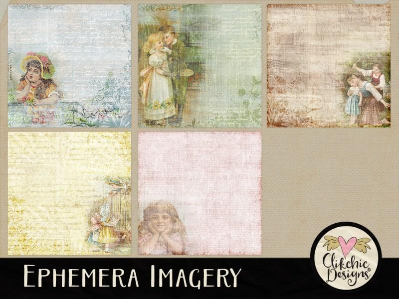 Ephemera Imagery Digital Scrapbook Paper Pack