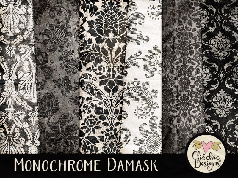 Monochrome Damask Digital Scrapbook Paper Pack