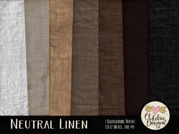 Neutral Linen Digital Scrapbook Paper Pack