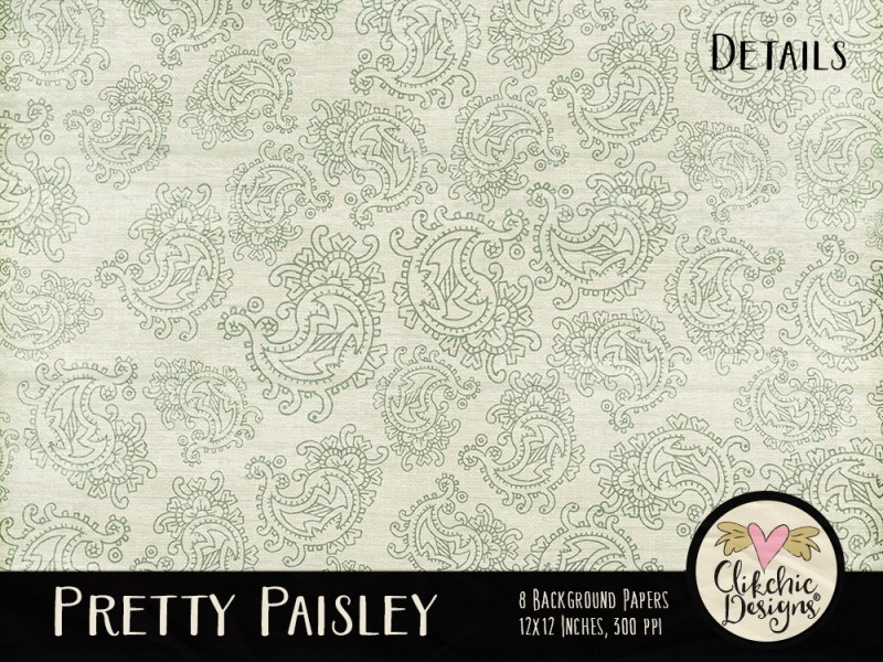 Pretty Paisley Digital Scrapbook Paper Pack