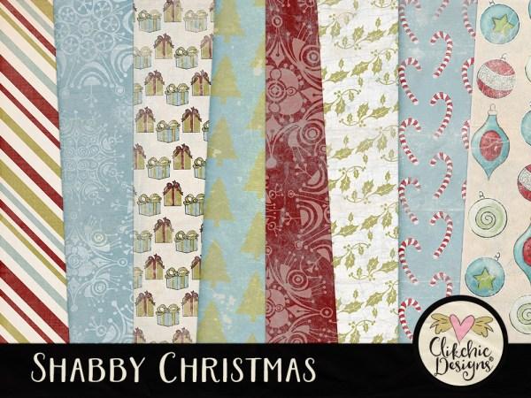 Shabby Christmas Digital Scrapbook Paper Pack