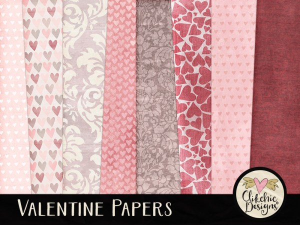 Valentine Digital Scrapbook Paper Pack