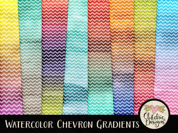Watercolor Chevron Gradients Digital Scrapbook Paper Pack