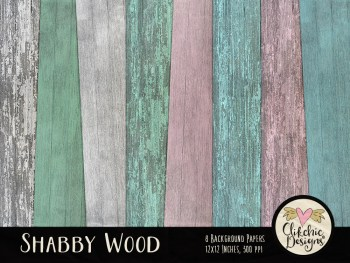 Shabby Wood Background Digital Scrapbook Paper Pack