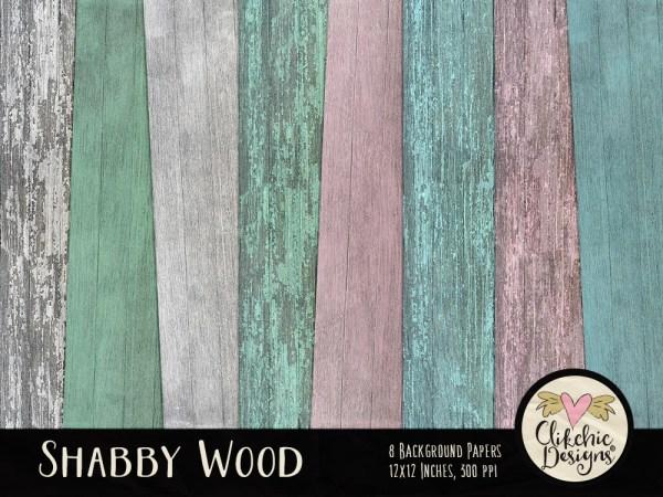 Shabby Wood Background Digital Scrapbook Paper Pack