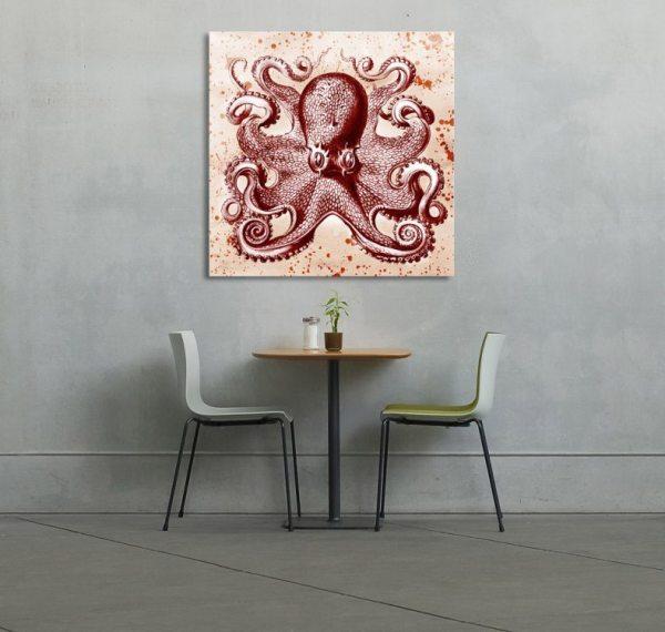 Red Ephemera Octopus Mixed Media Art Canvasa Octopus Mixed Media Art Canvas
