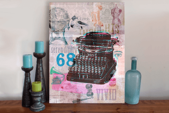 Retro Vintage Typewriter Art Canvas