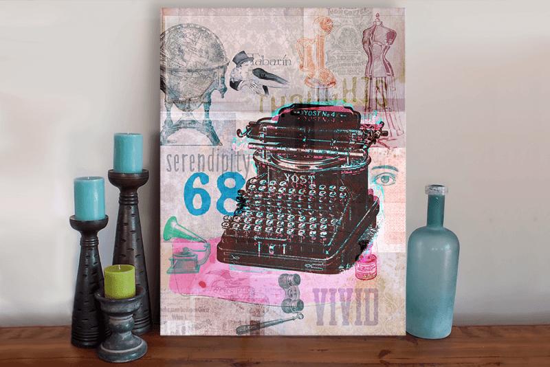 Retro Vintage Typewriter Art Canvas
