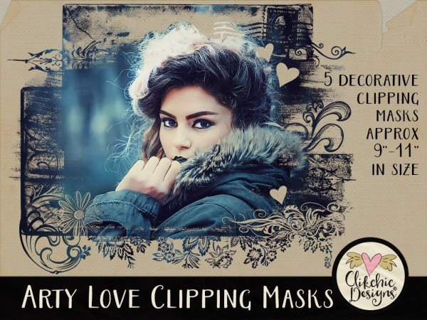 Arty Love Photoshop Clipping Masks