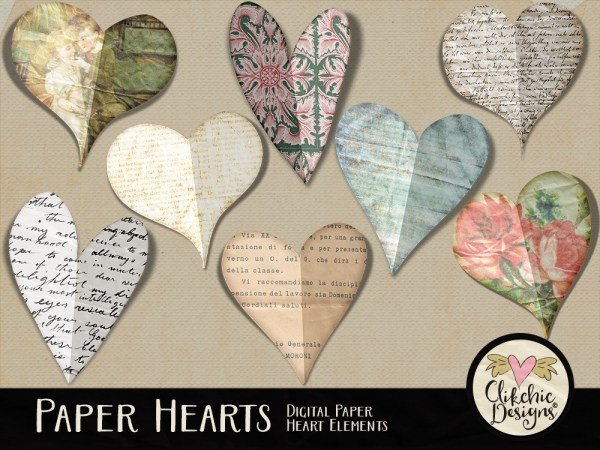 Altered Paper Hearts Digital Scrapbook Elements
