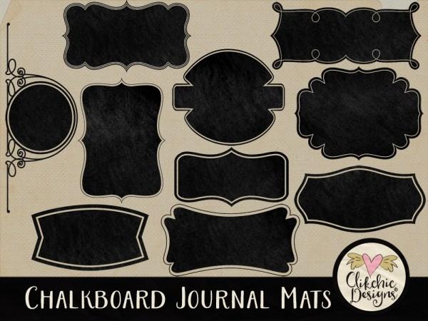 Chalk Board Journal Mat Digital Scrapbook Elements