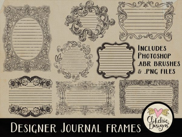 Designer Journal Frames and Photoshop Brushes
