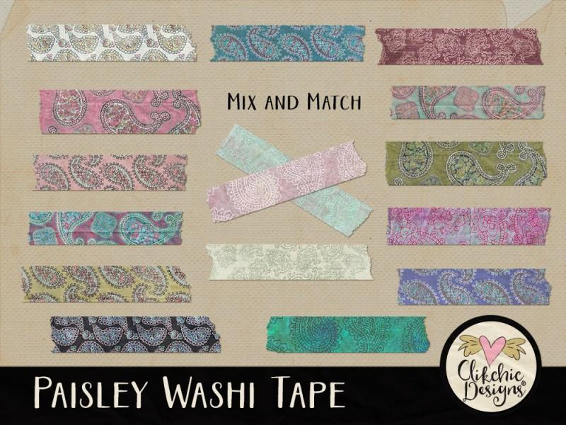 Paisley Washi Tape Digital Scrapbook Elements