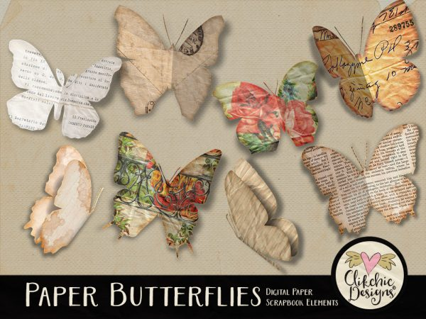 Paper Butterflies Digital Scrapbook Elements