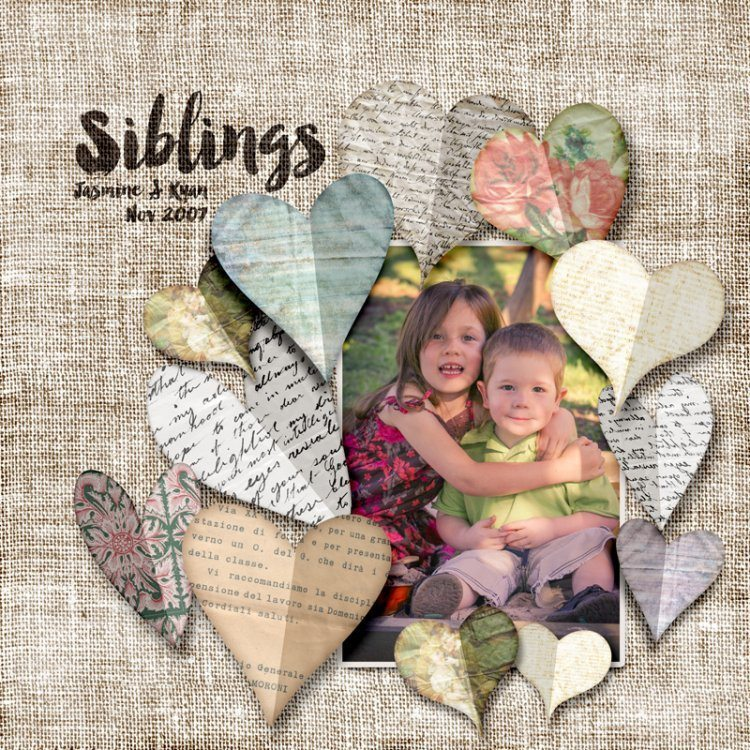 Paper Hearts & Burlap Digital Scrapbook Layout