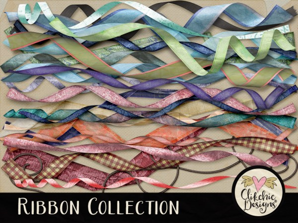 Collection of Curled Digital Scrapbook Ribbons