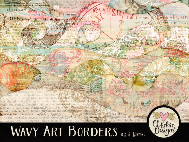 Wavy Art Digital Scrapbook Borders