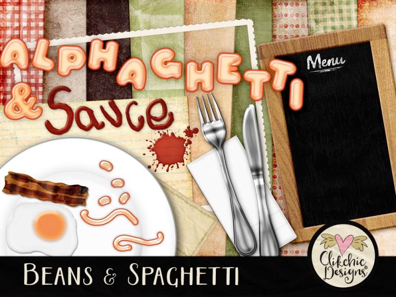 Beans And Spaghetti Breakfast Digital Scrapbook Kit