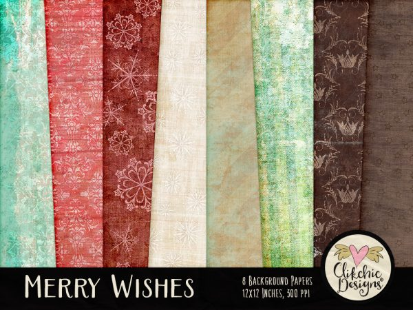 Merry Wishes Christmas Digital Scrapbook Kit