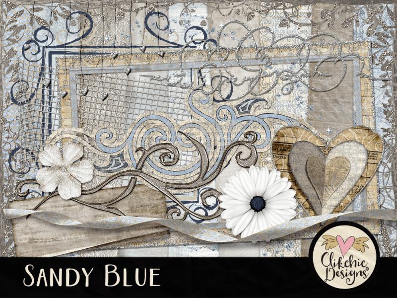 Sandy Blue Digital Scrapbook Kit
