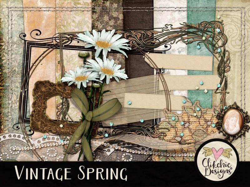 Vintage Spring Digital Scrapbook Kit