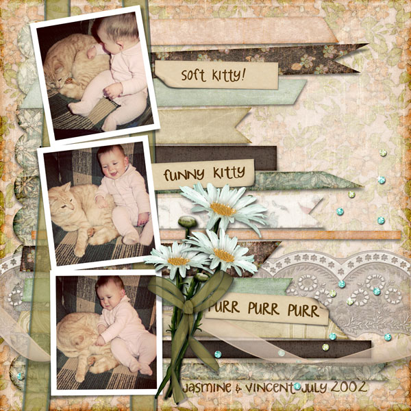 Vintage Spring Digital Scrapbook Kit Layout