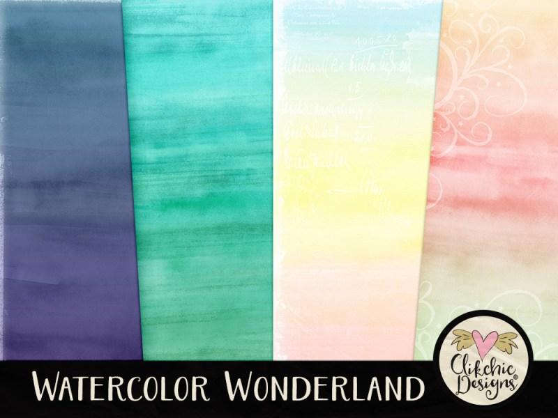Watercolor Wonderland Digital Scrapbook Kit