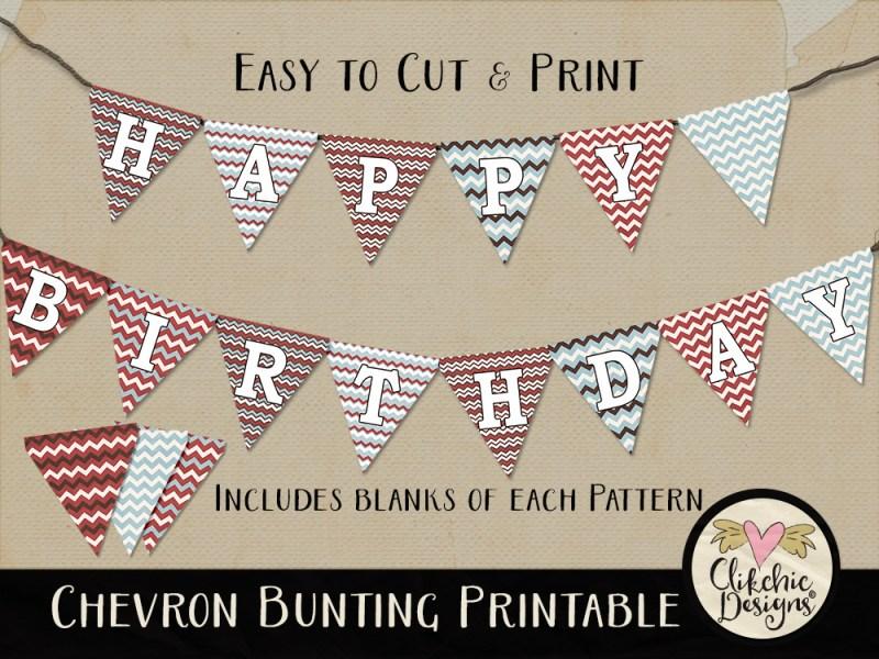 Printable Chevron Birthday Bunting