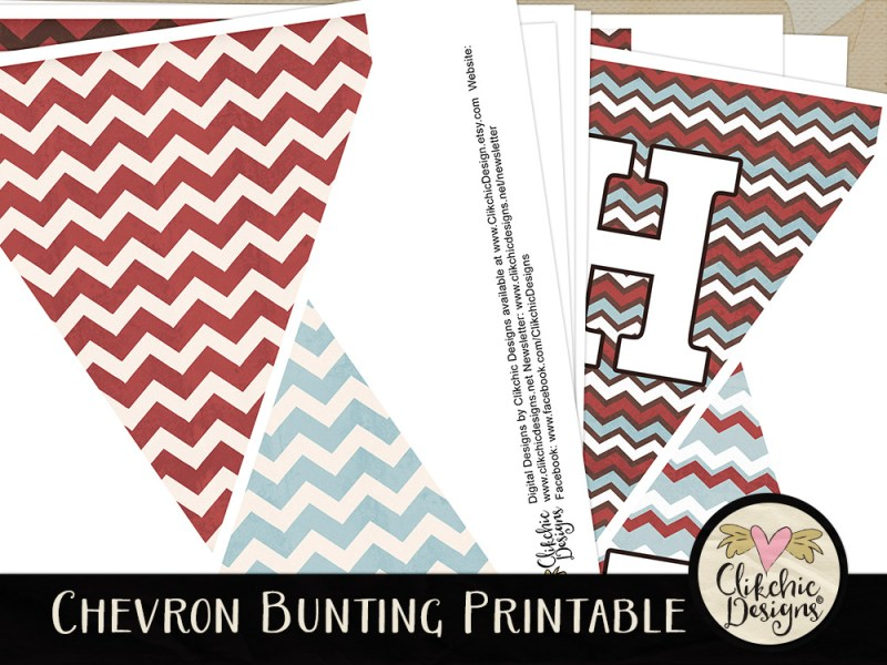Printable Chevron Birthday Bunting
