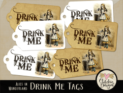 Drink Me Alice In Wonderland Printable Tags