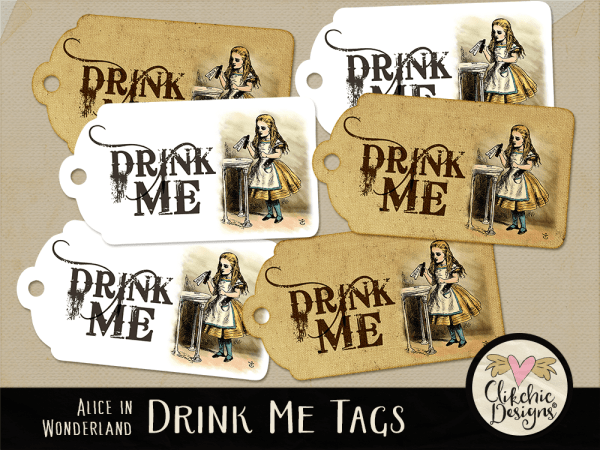 Alice in Wonderland Printable Drink Me Tags