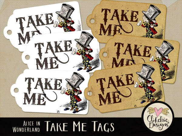 Mad hatter take me printable tags clikchic designs for Alice in wonderland tags template