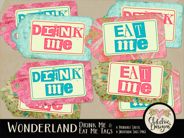 Alice In Wonderland Eat Me & Drink Me Tags