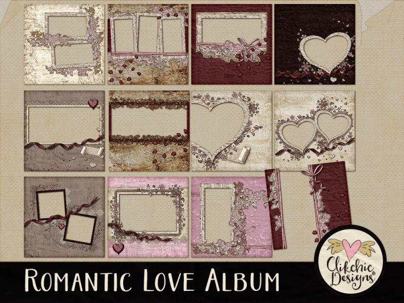 Romantic Love Digital Scrapbook Quick Page Album