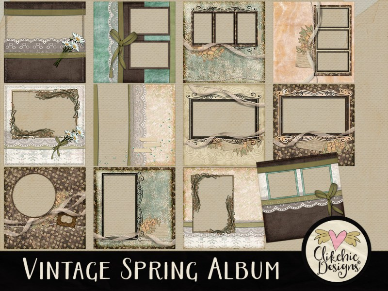 Vintage Spring Digital Scrapbook Quick Page