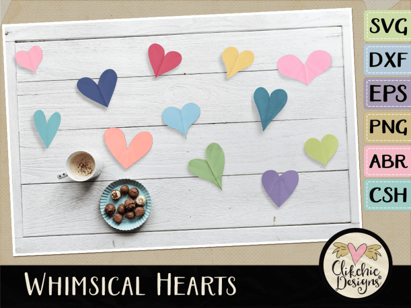 Whimsical Hearts, SVG Cutting Files, Photoshop Brushes, Custom Shapes and vectors.