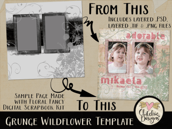 Grunge Wildflower Layered Photoshop Template