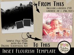 Inset Flourish Layered Photoshop Template