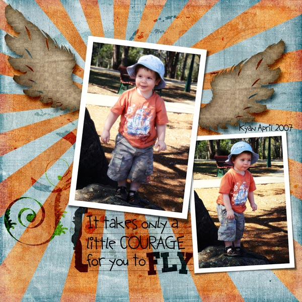 Urban Wings Layered Digital Scrapbook Template